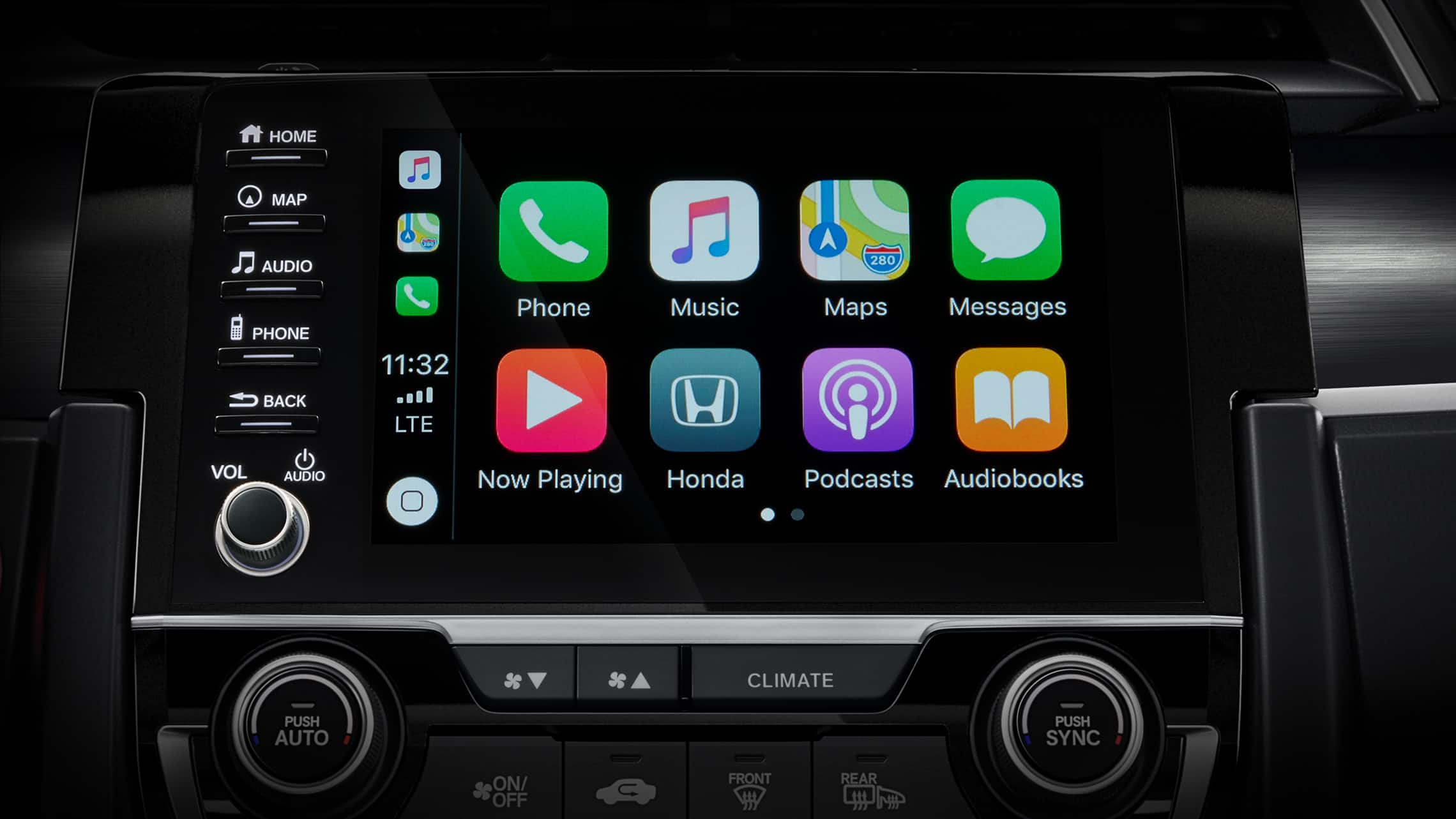 Detalle de pantalla de Apple CarPlay® en la pantalla táctil del sistema de audio del Honda Civic Sport Touring Hatchback 2020.