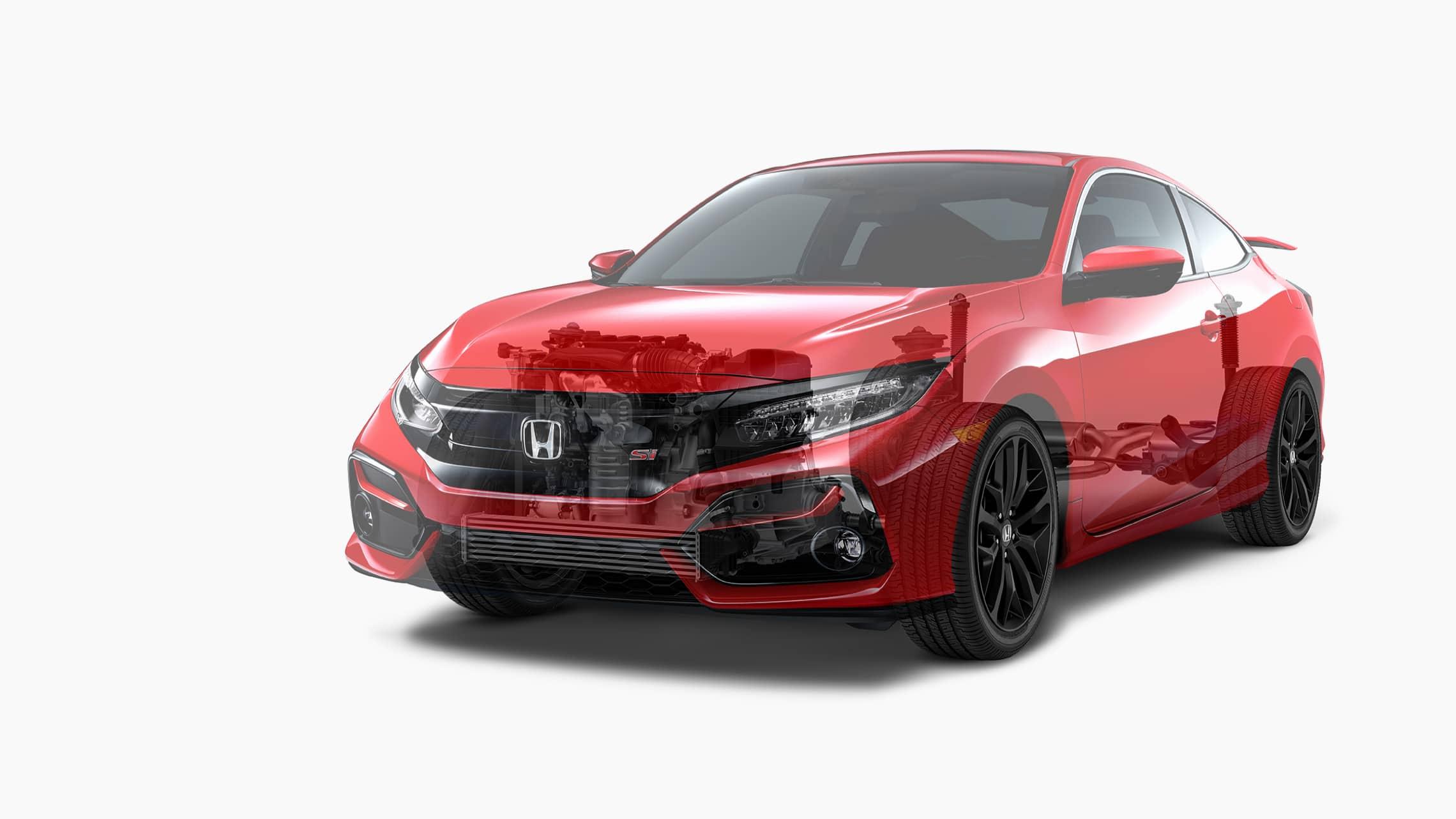 Vista frontal de 7/8 desde el lado del conductor del Honda Civic Si Coupé2020 en Rallye Red que muestra una representación del tren motriz y del sistema de suspensión adaptativa.