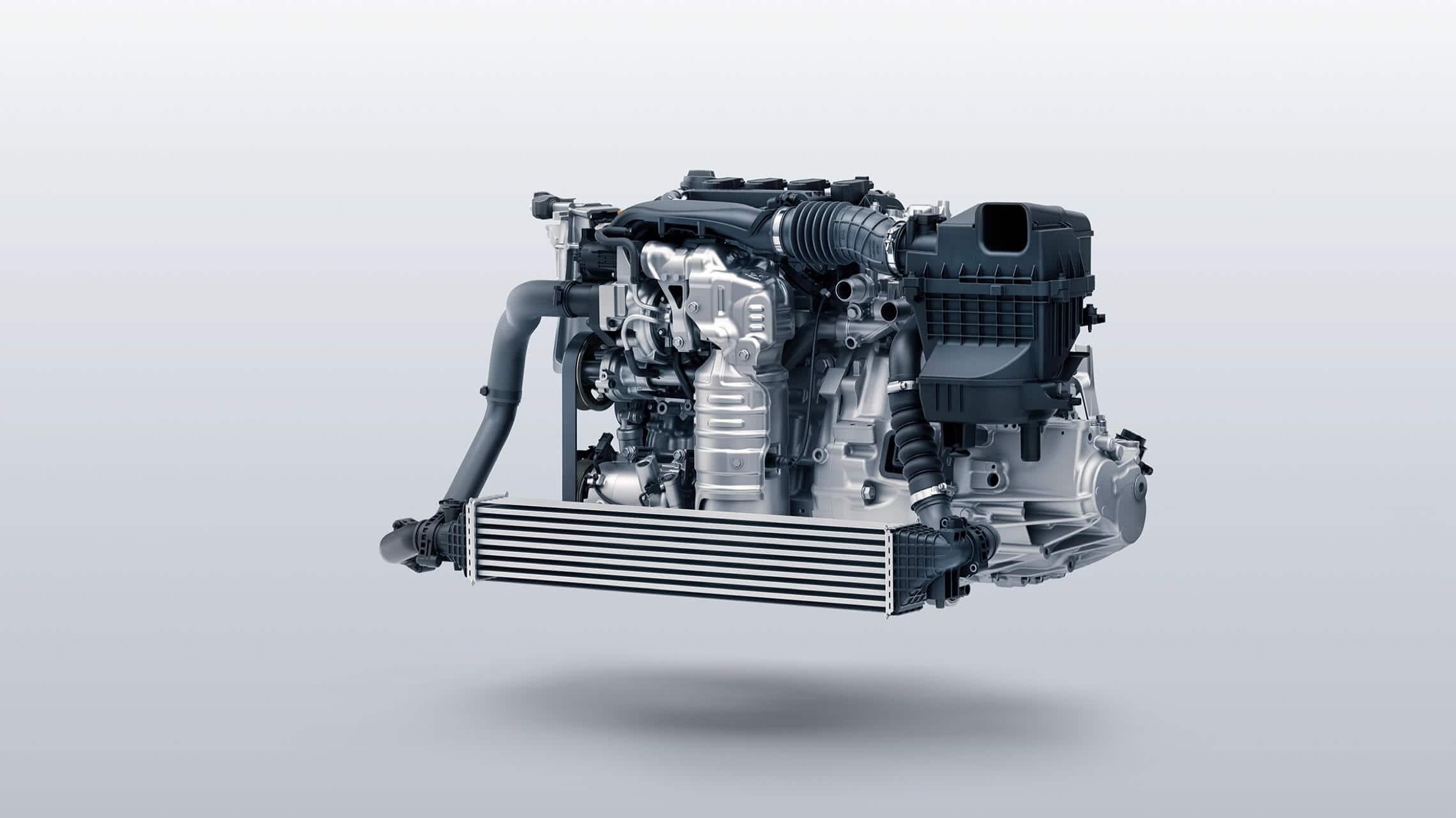 Detalle del motor turboalimentado en el Honda Civic Si Coupé2020.