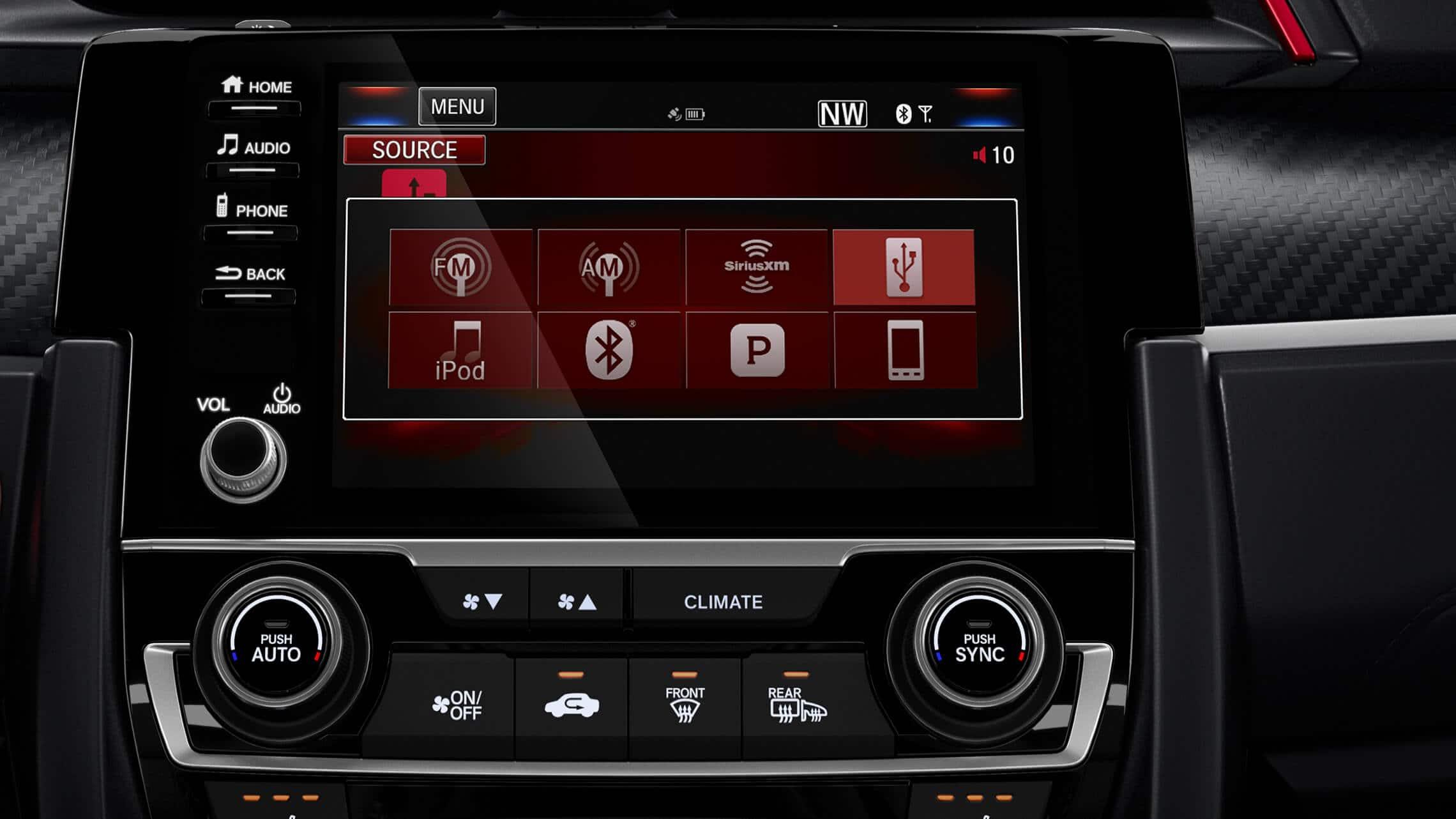 Detalle de la pantalla táctil del sistema de audio en el HondaCivicSiSedán2020.