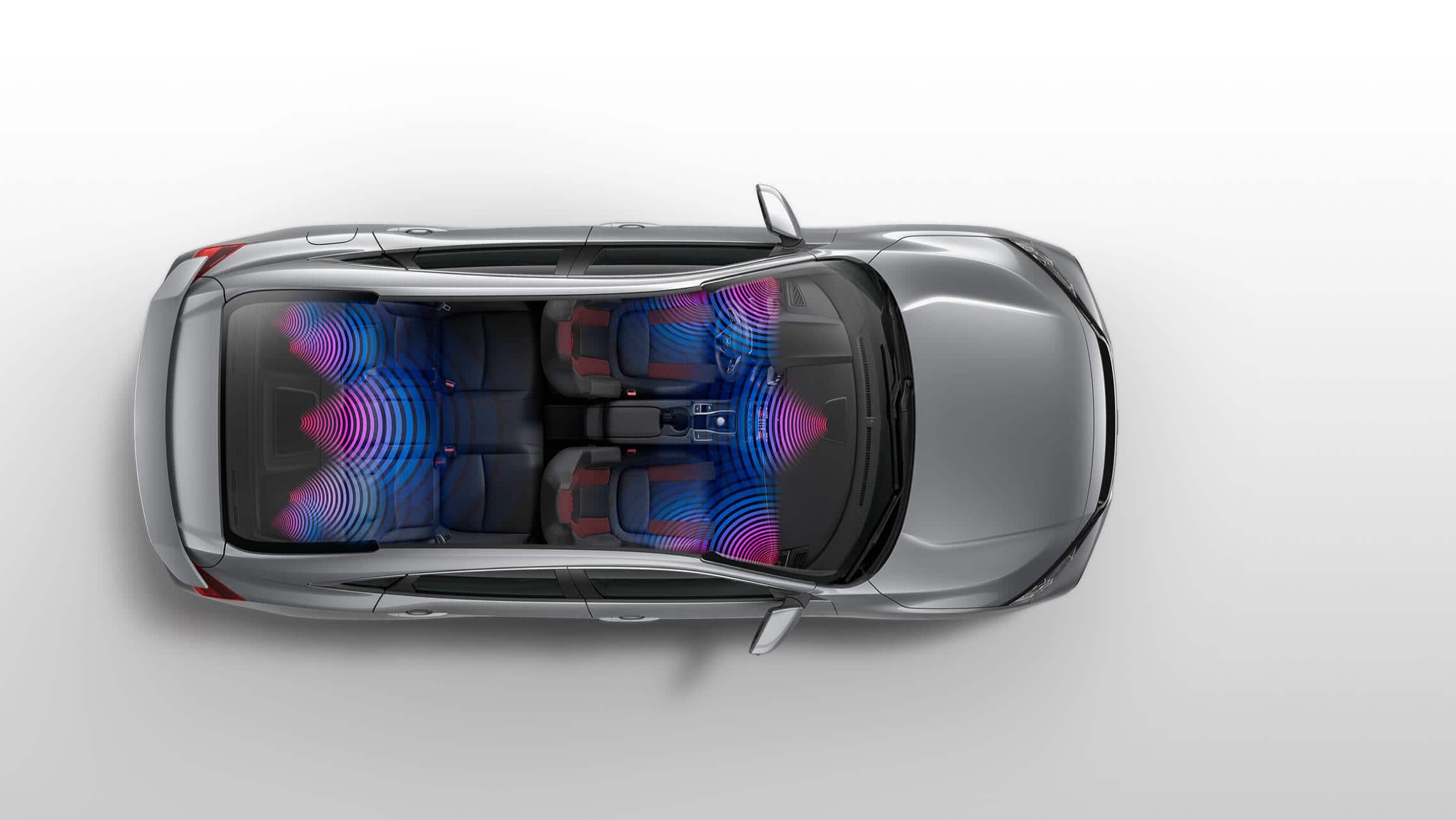 Vista aérea del Honda Civic Si Sedán2019 con gráficos de sonido envolvente.