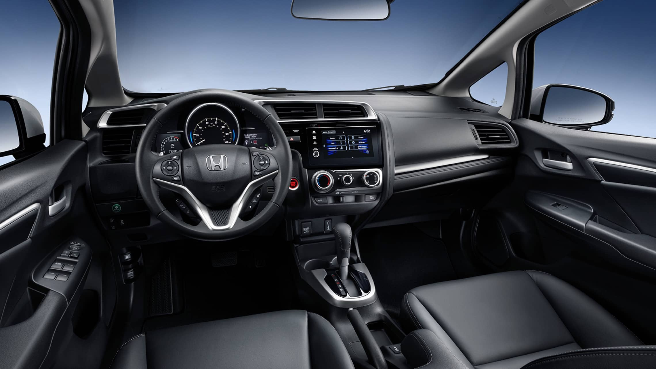 2020 Honda Fit EX-L leather-wrapped steering wheel detail in Black Leather.