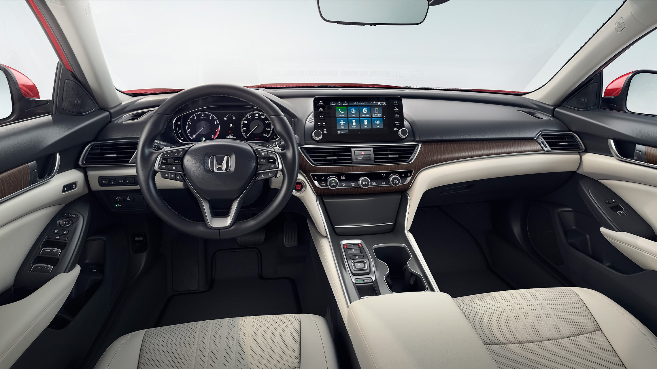 Interior view of front seats and dashboard in the 2021 Honda Accord Touring 2.0T with Ivory Leather.