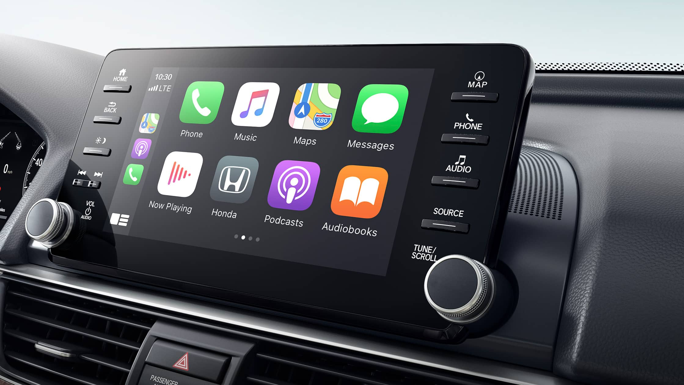 Se muestra la integración inalámbrica con Apple CarPlay® en el sistema de audio en pantalla táctil del Honda Accord Touring 2.0T 2021.