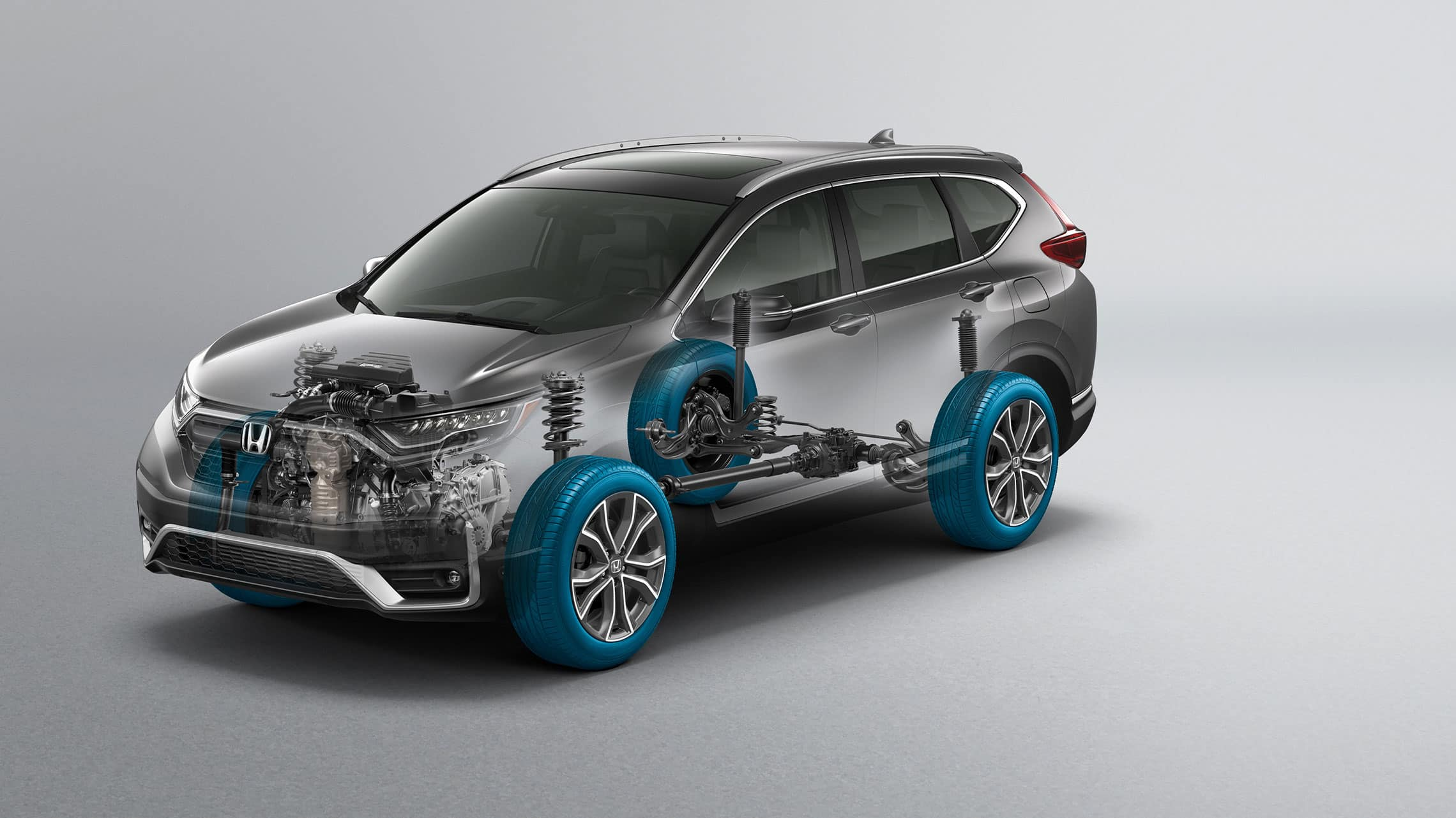 Vista frontal de ¾ desde el lado del conductor de la Honda CR-V2021 con gráfico en superposición de Real Time all-wheel-drive™.