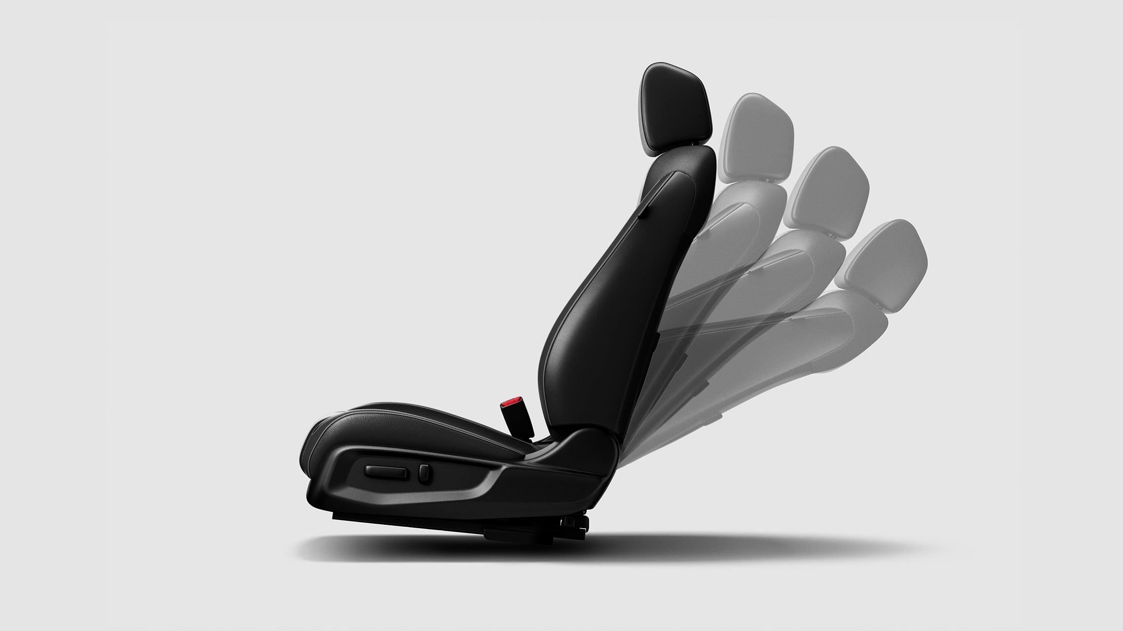 Detalle de los ajustes en varias posiciones del asiento del conductor con ajuste eléctrico de 8 posiciones para el Honda Civic Touring Sedán2021.