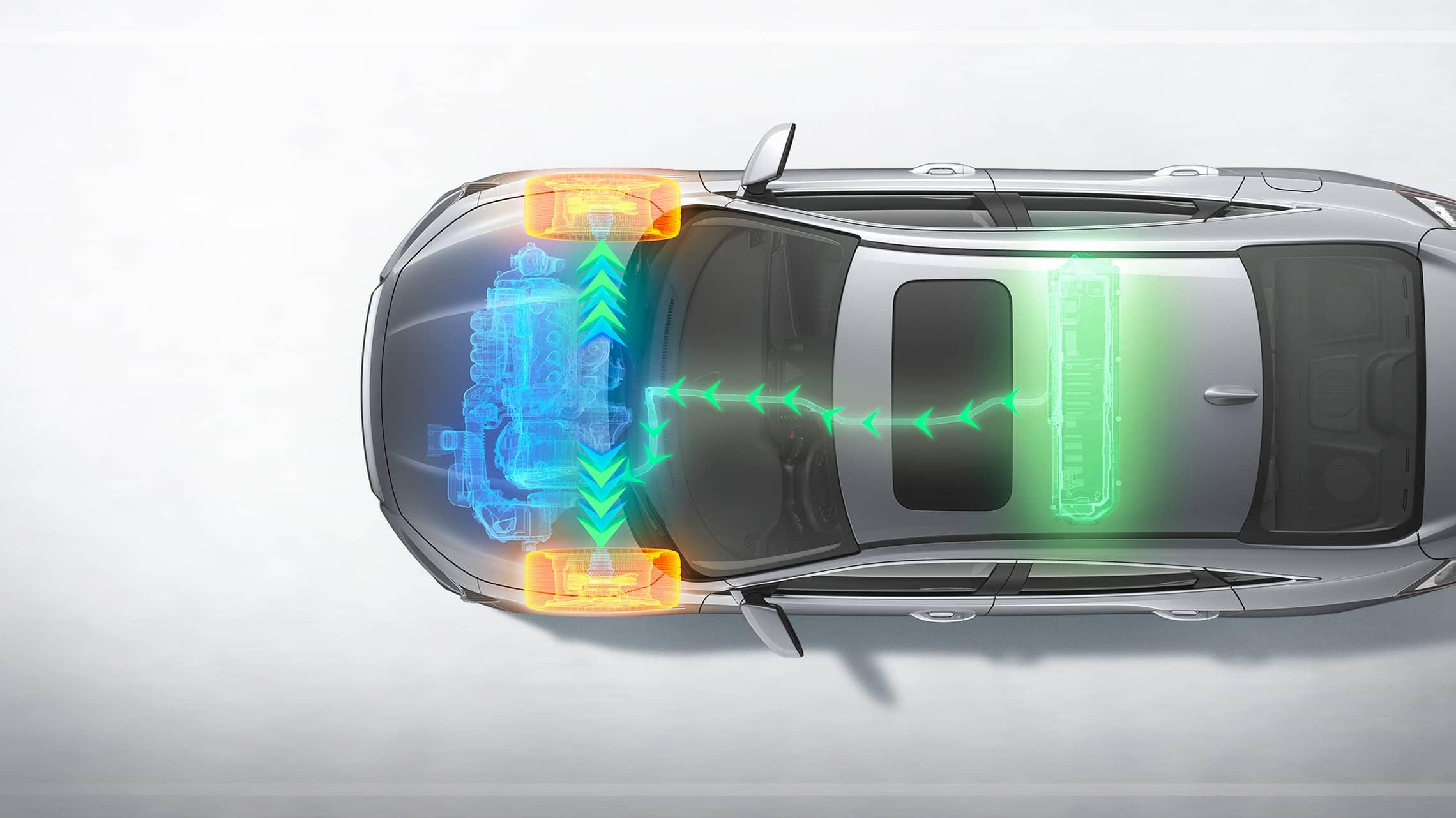 Vista aérea del Honda Insight Touring2021 en Lunar Silver Metallic con superposición de gráficos de la potencia del motor.